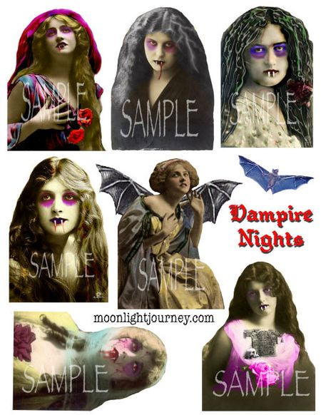 Moonlight Journey Vampire Nights collage sheet