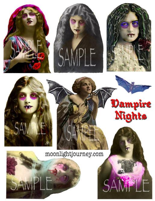 Moonlight Journey Vampire Nights collage sheet